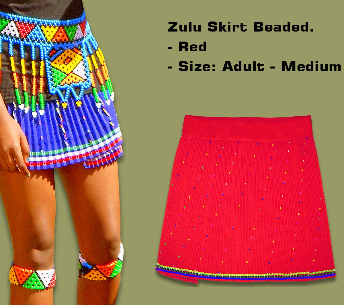 Beaded Zulu Skirt Adult Red Medium
