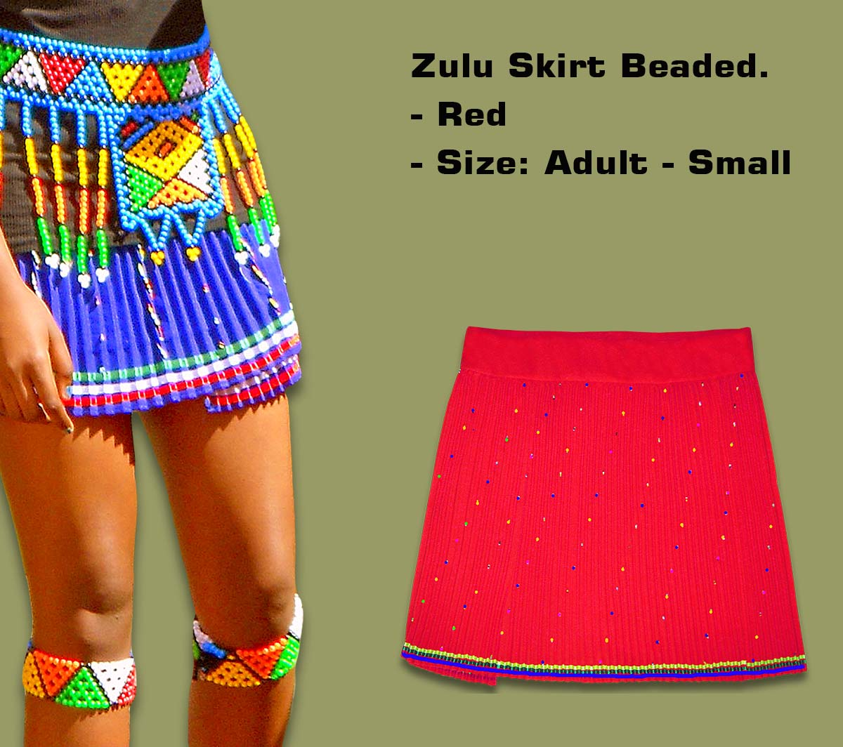 Beaded Zulu Skirt Adult Red Small