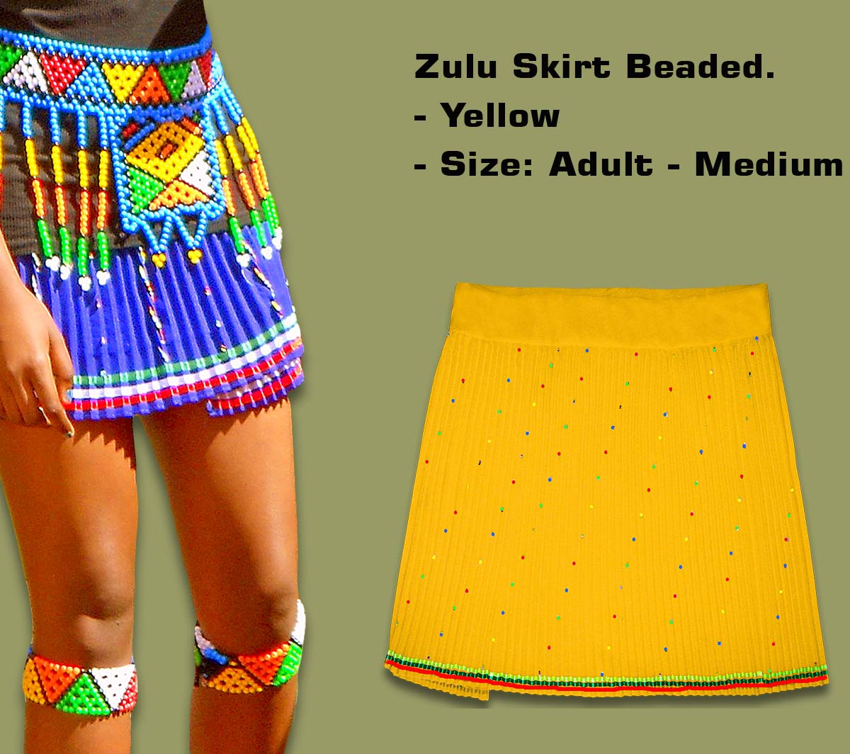 Beaded Zulu Skirt Adult Yellow Medium